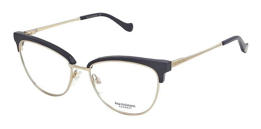 Óculos Armação Ana Hickmann Ah1379 D01 Azul Dourado