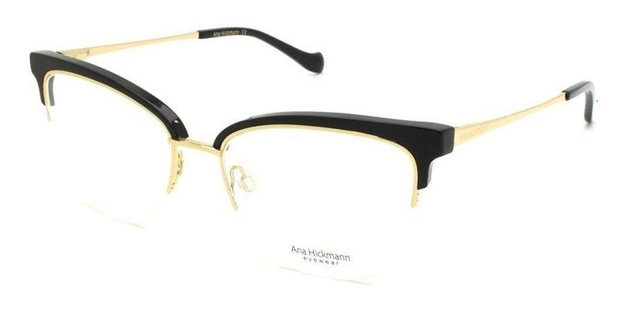 Óculos Armação Ana Hickmann Ah1378 A01 Fio De Nylon Preto