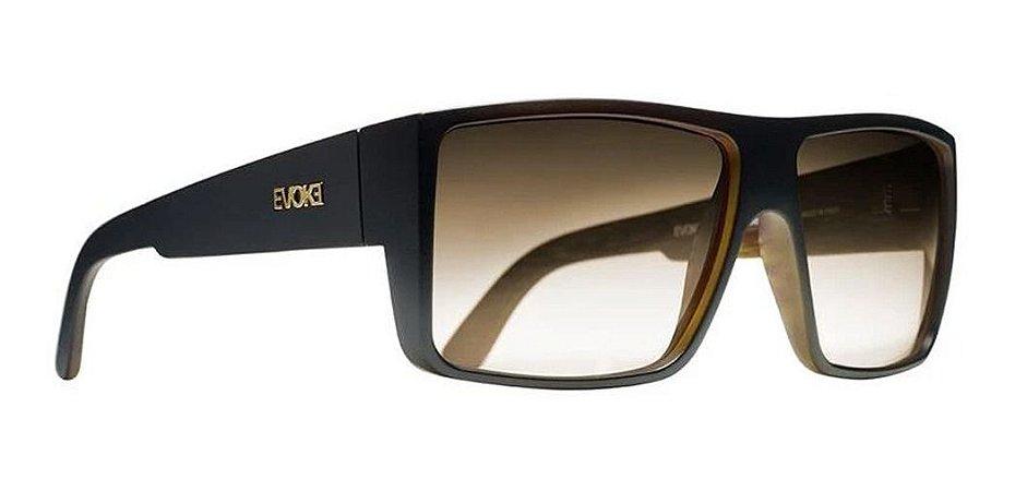 Óculos De Sol Evoke Wd02 The Code Preto Lente Marrom Degrade