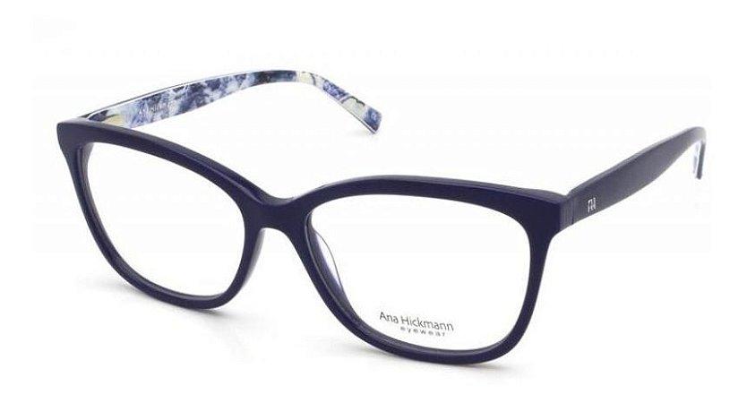 Óculos Armação Ana Hickmann Ah6257 D02 Azul  Feminino