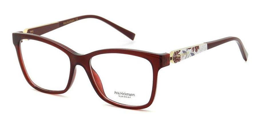 Óculos Armação Ana Hickmann Ah6260 T01 Vinho  Feminino