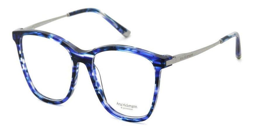 Óculos Armação Ana Hickmann Ah6269 E02 Azul  Mesclado