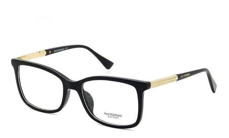 Óculos Armação Ana Hickmann Ah6286 A01 Preto  Feminino