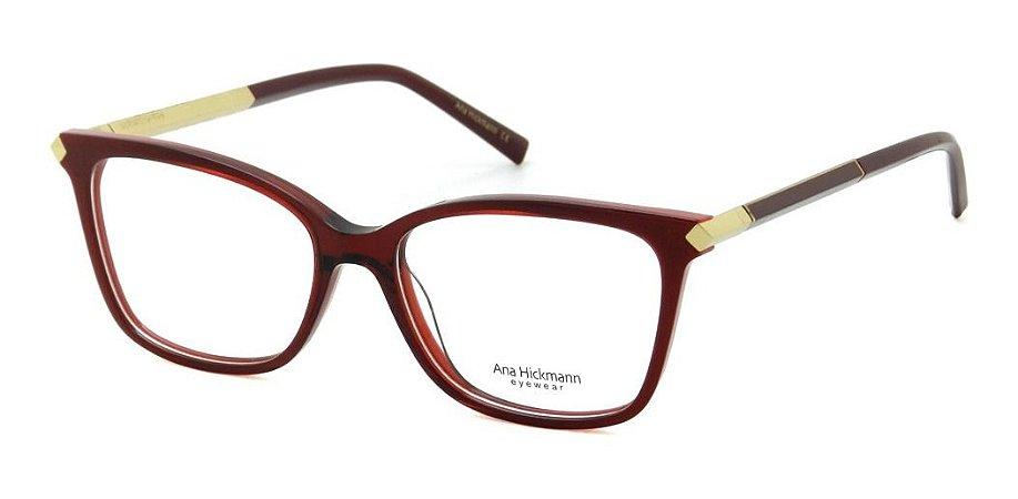 Óculos Armação Ana Hickmann Ah6322 C01  Acetato Vermelho