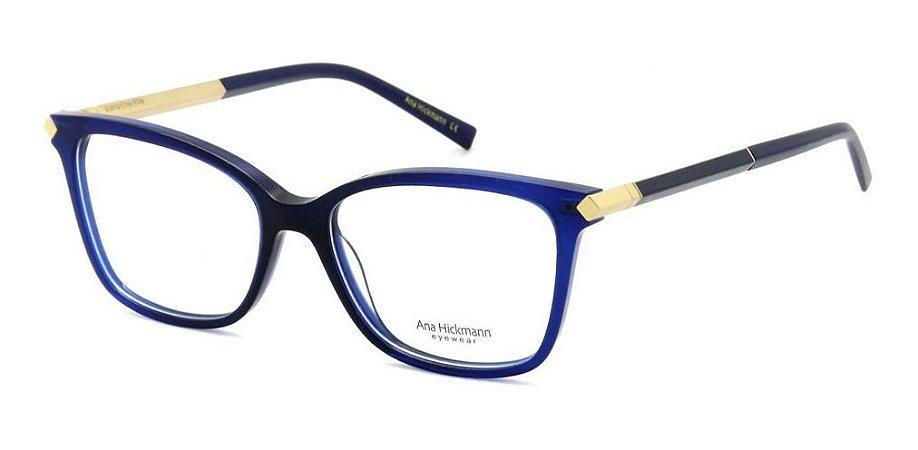 Óculos Armação Ana Hickmann Ah6322 C02 Azul  Feminino