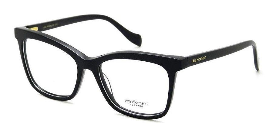 Óculos Armação Ana Hickmann Ah6335 A01 Preto  Feminino