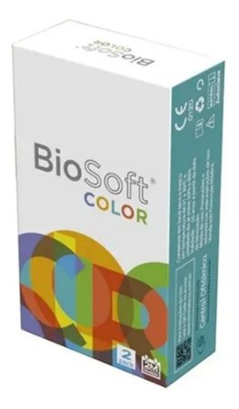 Lente De Contato Colorida Biosoft Cor Cinza Prata 60 Dias