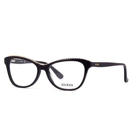 Óculos Armação Guess GU2624 005 Preto Acetato Feminino