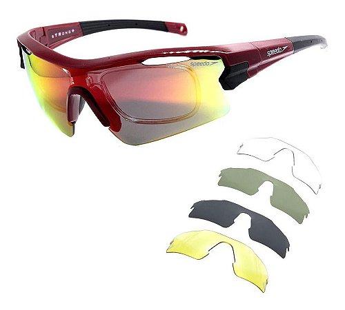 Óculos Solar Speedo Pro 3 T01 Vermelho Ciclismo  Espelhado