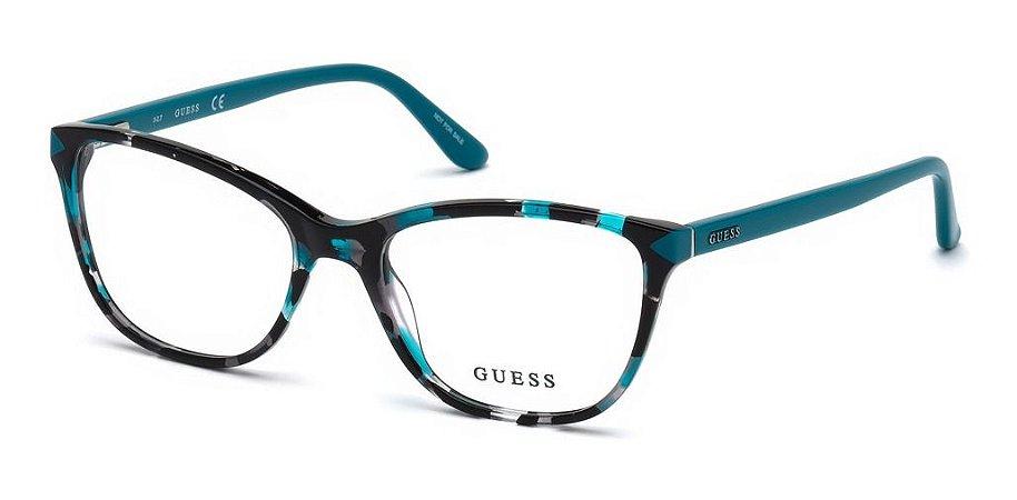 Óculos Armação Guess Gu2673 089 Turquesa Feminino  Quadrado