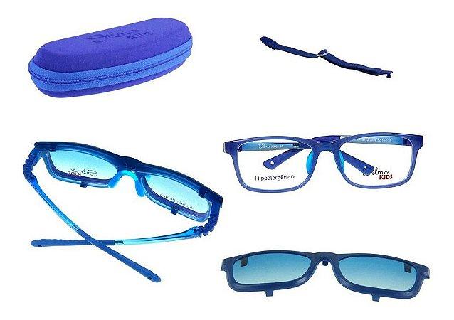 Óculos Armação Silmo Kids Sk18130 Blue Meninos Clip On