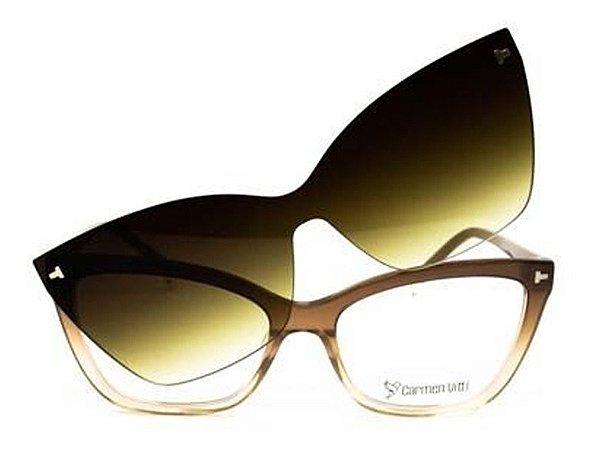 Óculos Armação Carmen Vitti Cv0186 C4 Nude  Marrom Clip-on