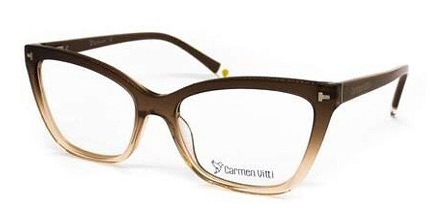 Óculos Armação Carmen Vitti CV0187 C4 Marrom Clip On Feminin