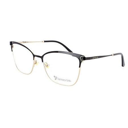 Óculos Armação Carmen Vitti CV0123 C1 Metal Preto Feminino
