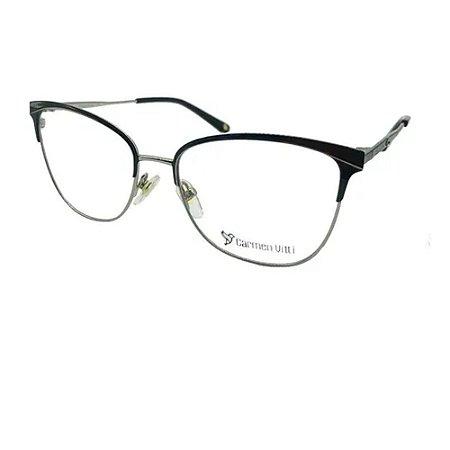Óculos Armação Carmen Vitti CV0078 C1 Preto Metal Feminino