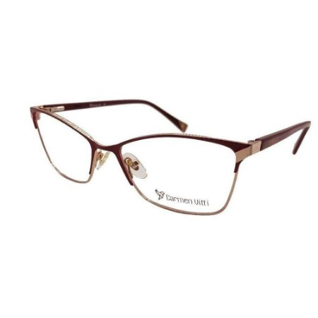Óculos Armação Carmen Vitti CV0107 C2 Metal Bordo Feminino