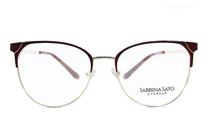 Óculos Armação Sabrina Sato Ss111 C2 Metal Vinho Feminino