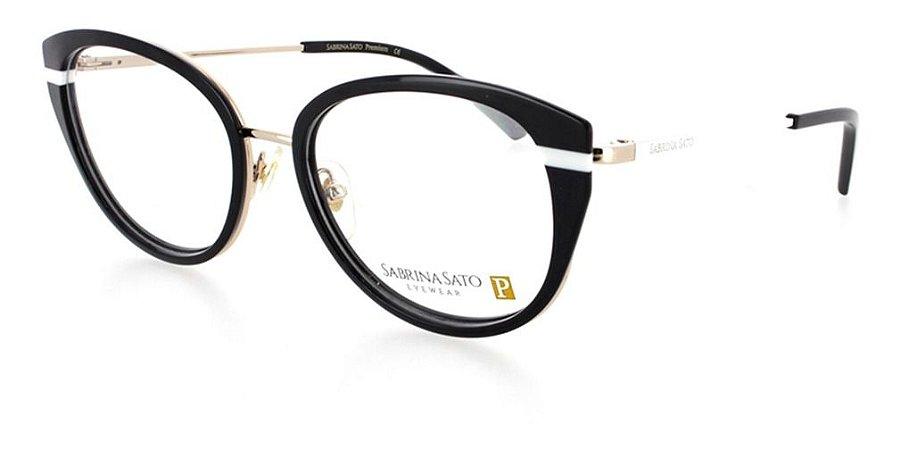 Óculos Armação Sabrina Sato Premium Preto Dourado Ss518 C1