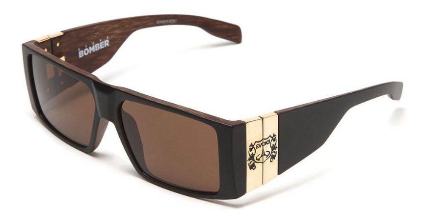 Óculos De Sol Evoke Bomber Wd01 Preto Fosco Lente Marrom