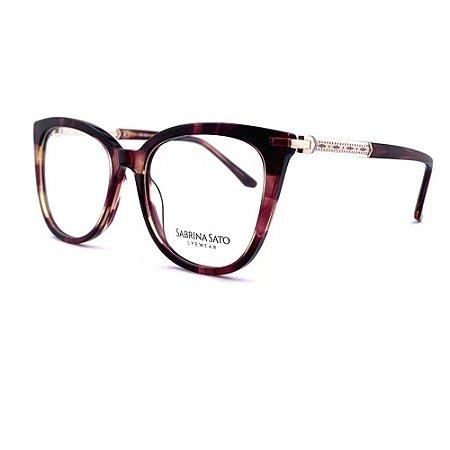 Óculos Armação Sabrina Sato SS116 C2 Vinho Mesclado Feminino