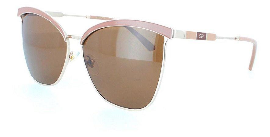 Óculos De Sol Sabrina Sato Ss557 Metal Nude  Lente Marrom C3
