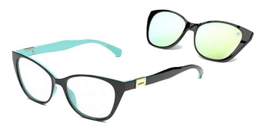 Óculos Armação Colcci Bandy 1 Feminino Preto Clip  Espelhado