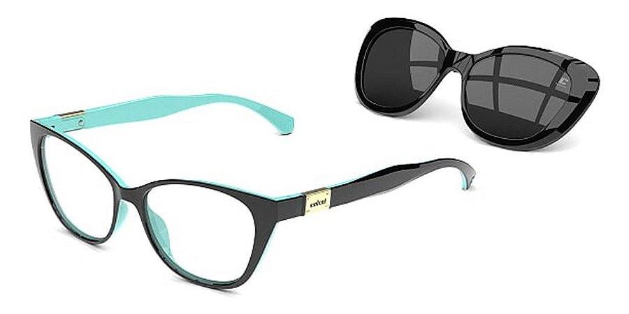 Óculos Armação 2 Em 1 Colcci Bandy 2 Preto  Clip-on Gatinho