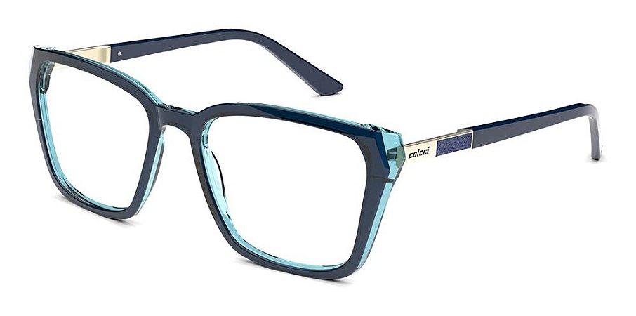 Óculos De Grau Colcci C6132  K03 55 Azul Translucido