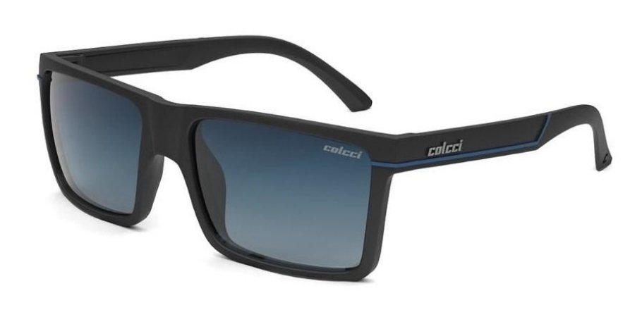 Óculos De Sol Colcci Adam Masculino Preto Fosco Lente Azul
