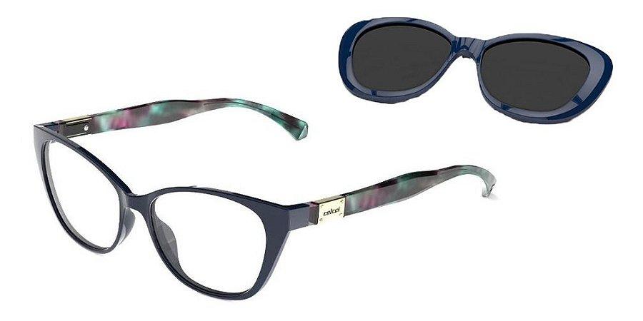 Óculos 2 Em 1 Colcci Bandy 2 Azul Com Clip-on Lente  Escura