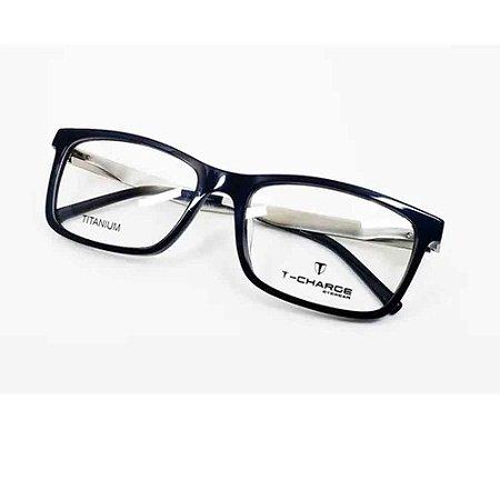 Óculos Armação T-Charge T6049 D01 Azul Titanium Masculino