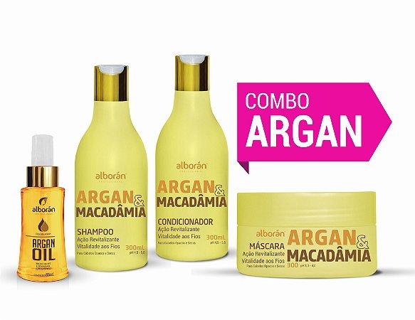 KIT ARGAN (Shampoo + Condicionador + Máscara + Óleo)