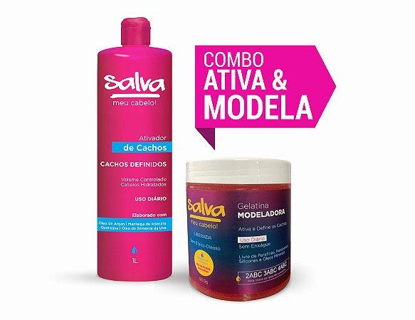 COMBO ATIVA & MODELA (Ativador de Cachos Salva Meu Cabelo! 1L + Gelatina Modedora 500gr)