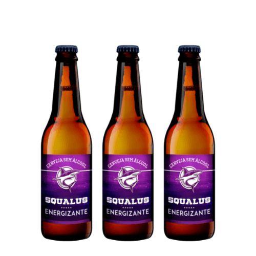 Cerveja Squalus Sem Álcool Energizante - 3 Un. Long Neck 355ml - Argentina