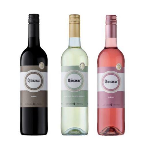 Kit de Vinhos O%riginal Syrah Tinto - Syrah Rosé - Branco Moscatel - Sem Álcool - Garrafa 750 ml - Portugal - 3 unidades