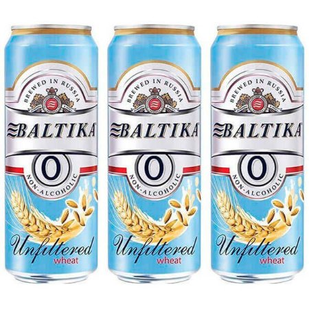 Combo de Cerveja Baltika 0 de Trigo Sem Álcool - 3 UN Lata 450 ml - Rússia