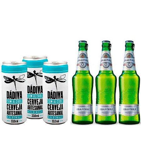 Kit de Cervejas Sem Álcool - Los Fuertes - 3 Baltika + 3 Dádiva - 6 Unidades