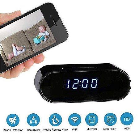 Relógio Despertador Espião com Câmera detecção de movimento