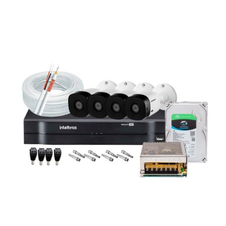 Kit 04 Câmeras Infra HD 720P VHL 1120B + DVR 1104 - 04 Canais HD 1080 Intelbras + HD SEAGATE 1TB + Acessórios
