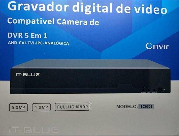 DVR full hd 4 canais 5.0mp c/ fonte e mouse itblue - com 4 câmaras