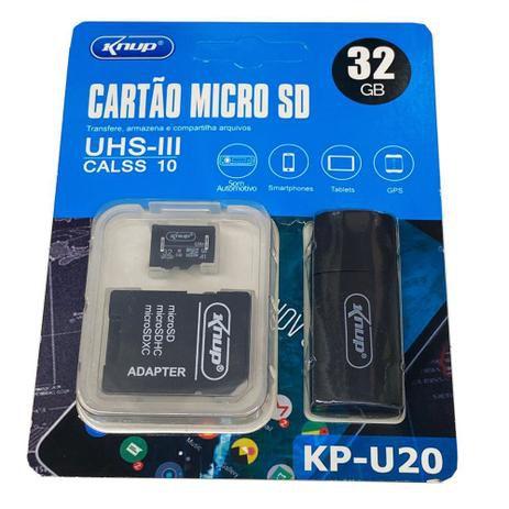 Cartão de Memória MicroSD 32GB Knup KP-U20 com Adaptador USB