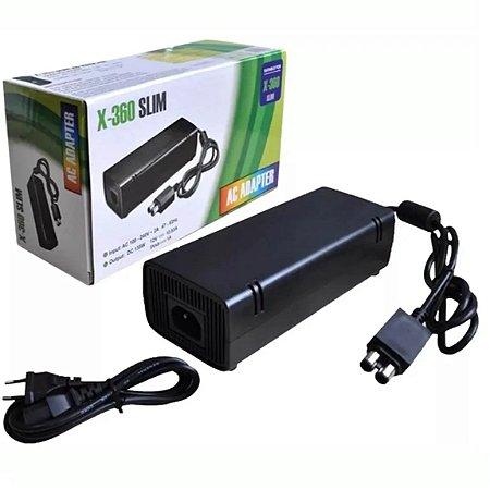 Fonte Para Xbox 360 Slim Bivolt 110v 220v Mais Cabo De Força