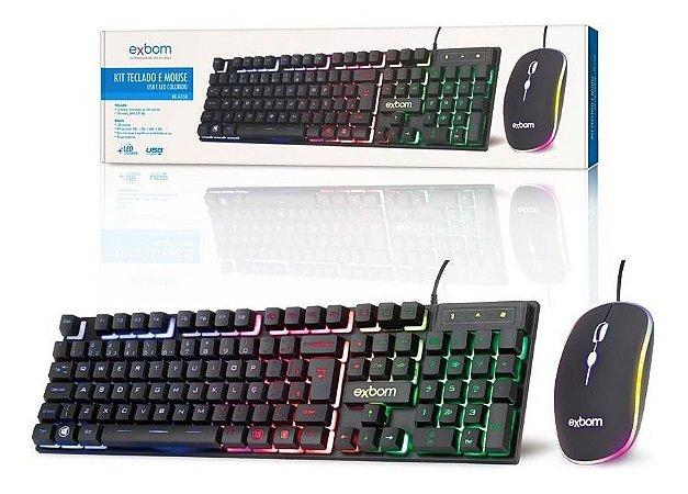 Kit Teclado Mouse Gamer Computador Pc Usb Abnt2 Led Preto