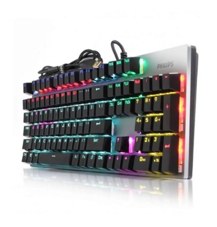 Teclado Mecânico Gamer  Luminoso Switch Blue Philips SPK8404