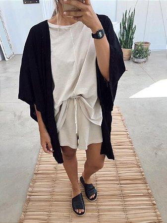 Kimono Viscolinho Preto