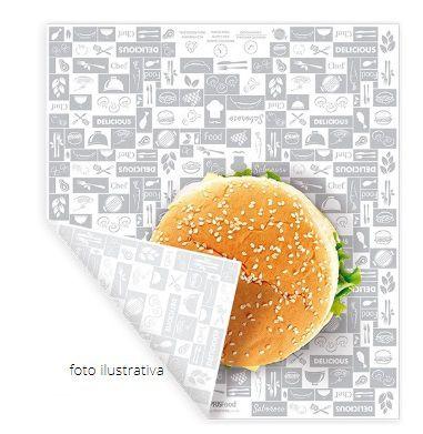 PA01 - 1000 unid - Papel acoplado para embalar hamburguer, lanche