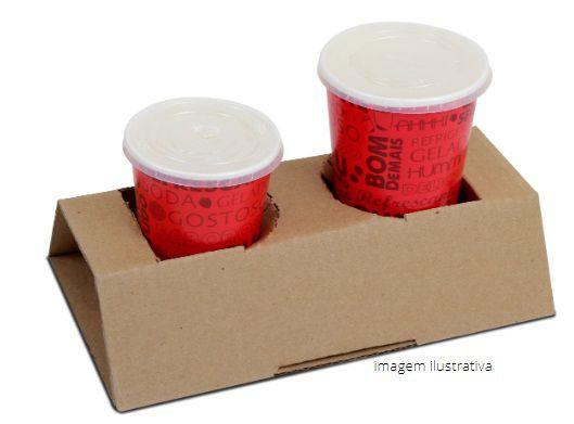 SP02 - 100 unid- Suporte descartável para 2  copos