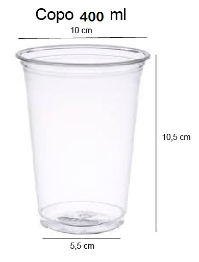 50 unid - Copo pet 400 ml