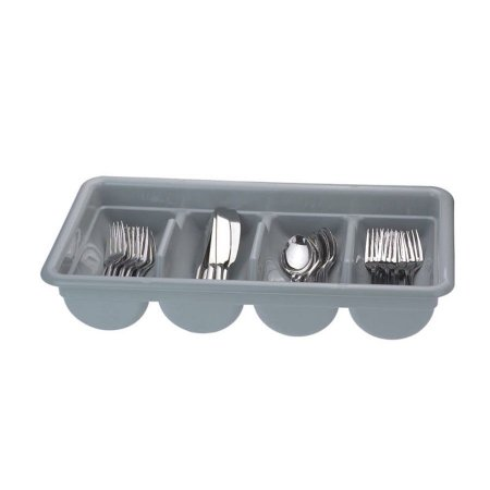 Porta Talher 4 Divisões Plástico Cinza 51x29x9cm 8673