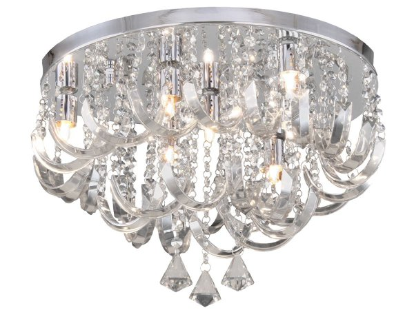 PLAFON ARCOS CRISTAL 7 LAMPADAS TRANSPARENTE HEVVY SL93779/7
